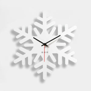 orologio a forma di fiocco di neve bianco