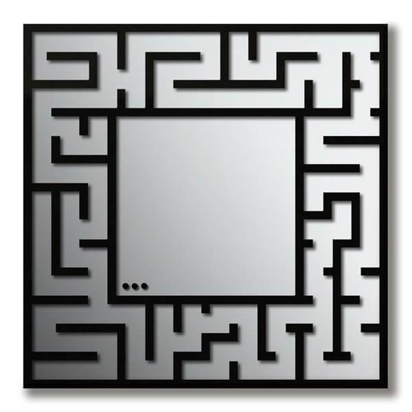 Specchio da parete moderno labirinto plexiartglass - Specchio cornice nera ...