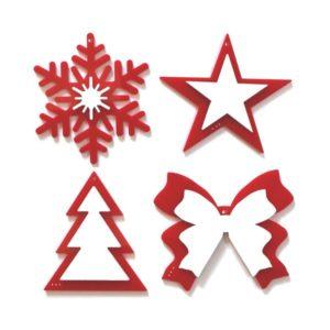 Addobbi di Natale set 8 pz. bianchi su base rossa