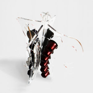 porta capsule di design in plexiglas trasparente a forma di Moka