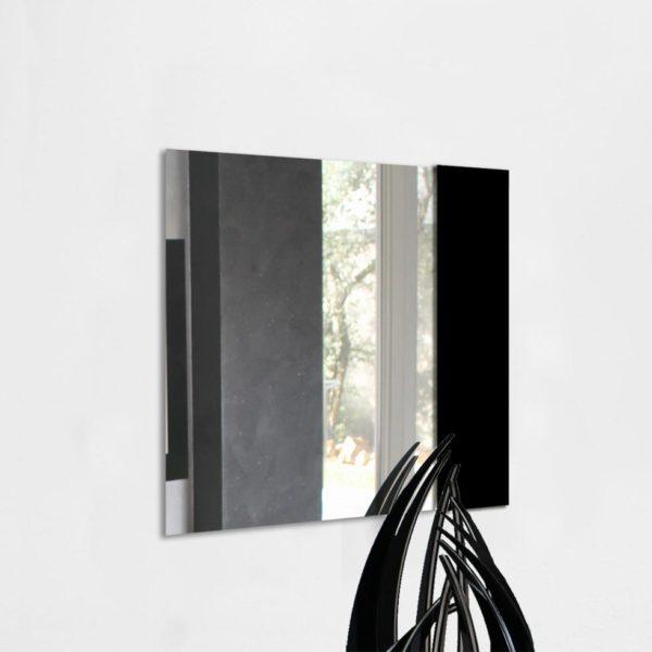 specchio da parete quadrato in plexiglas nero