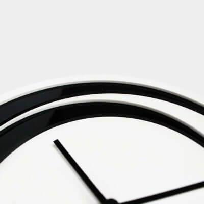 dettaglio orologio da muro in plexiglas bianconero