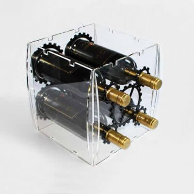 portabottiglie di vino in plexiglas trasparente e nero