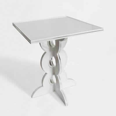 comodino-tavolino in plexiglass bianco lucido