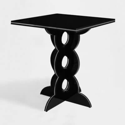tavolino-comodino quadrato su misura in plexiglass nero