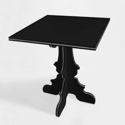 tavolino-comodino nero su misura in plexiglass