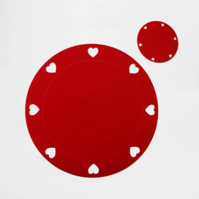sottopiatto rotondo rosso in plexiglass