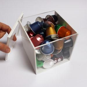 cubo porta capsule in plexiglass