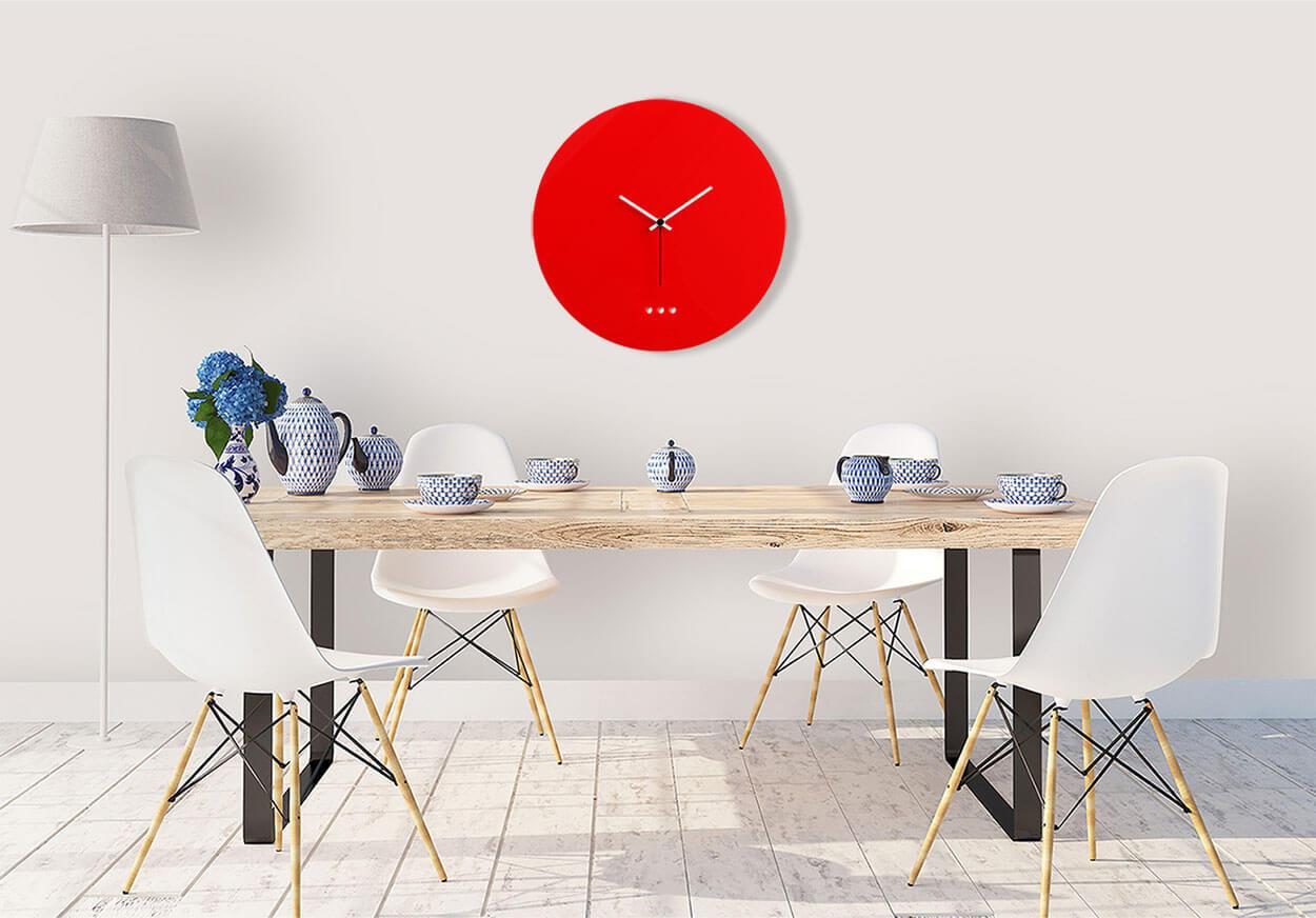 orologio grande da parete di design in plexiglas rosso
